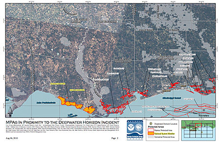 Detailed Maps Of Mpas In Proximity Of The Deepwater Horizon Oil Spill August 2010